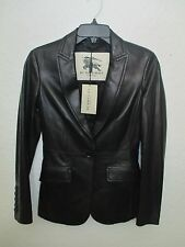NEW BURBERRY LONDON Black Women Leather Jacket Size US 02 MSRP $ 2395