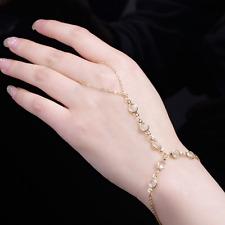 Women Vintage Bracelet Bangle Slave Chain Finger Ring Harness Hand Beads Chain