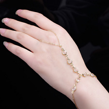 Women Bracelet Bangle Slave Chain Finger Ring Harness Hand Crystal Beads Chain