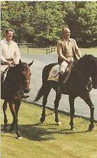 Ronald Reagan & Mexico President Jose Portillo Riding Horses Postcard Political