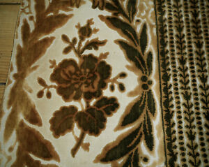 Antique French Cut Velvet Floral Fabric  Long Panel #2~ Amber Ochre Brown ~ rare