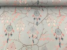 Jersey BaumwolleTraumfänger BoHo Federn hellgrau rosa0,5 x 145cm
