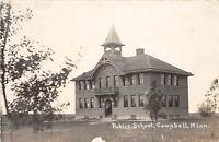 D95/ Campbell Minnesota Mn Real Photo RPPC Postcard 1916 Public School