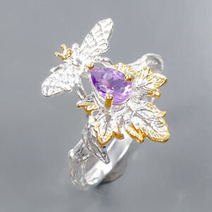 One of a kind SET Amethyst Ring Silver 925 Sterling  Size 8.75 /R177462