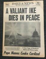 Death Of President Eisenhower - 1969 New York Daily News Newspaper