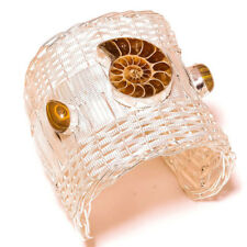 Ammonite, Brown Rainbow Calsilica Gemstone Silver Overlay Handmade Cuff Bracelet