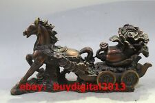 Chinese Bronze Horse Horses Vehicle Cabbage Golden Toad Wealth Yuanbao Statue