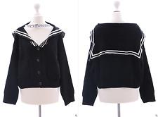 TS-33 Sailor Matrose schwarz Cardigan Strick Pullover Jacke Goth Lolita Harajuku