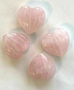 10 Carved & Fluted Rose Quartz Heart Stone Pendants / Drops - Top Drilled 16mm