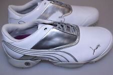 Puma Jigg Ladies Golf Shoes White Metallic Silver All Sizes 4 1/2 - 7 Waterproof