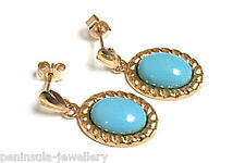 9ct Gold Turquoise Drop earrings Gift boxed Made in UK