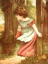 Edwards Victorian GIRL & HER DOLL at GATE 1885 Antique Art Matted
