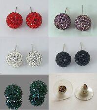Damen Set 5 Paar Shamballa Ohrstecker 11mm Kristall grün weiß lila rot schwarz