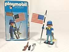 Vintage 1976 Playmobil 3354 Civil War US Soldier & Flag Complete in Box RARE