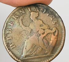 1723 Colonial Wood's HIBERNIA George I Half Penny Ireland RARE Copper Coin A651