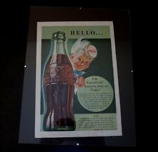 3 Vintage Coca Cola Framed Magazine Ads 1940 - 42