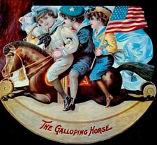 GALLOPING HORSE ~ Antique Victorian Reprint Shape Die Cut Picture Book Rocking