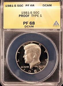 1981-S KENNEDY TYPE 1 PROOF HALF DOLLAR ANACS PF68 DCAM US COIN X021