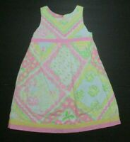 GIRLS LILLY PULITZER PINK GREEN YELLOW KERCHIEF FLORAL DRESS SIZE 6X