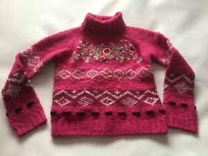 Girls Genuine Monsoon Knit Patterned Polar Neck Jumper Top Size age 6-8 Years