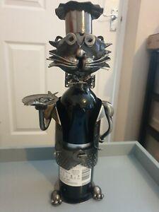 Brubaker Cat Waiter novelty metal wine bottle holder