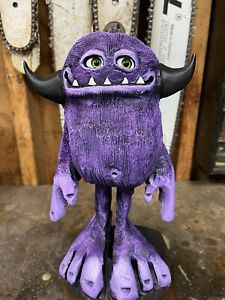 MINI MONSTER DUDE Chainsaw Carving WALNUT Wooden MONSTER Statue ONE of a KIND!