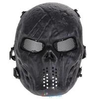 Skull Skeleton Army Full Face Protection Mask Airsoft Tactical Paintball Black
