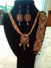 Ooak Handmade Beadwoven Brown and Green Necklace, Bracelet and Earrings Set