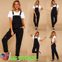 Women Wash Jeans Jumpsuit Skinny Fitted Casual Denim Ripped Overall Romper Black