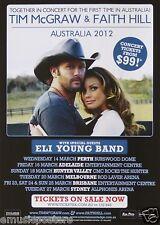 TIM McGRAW & FAITH HILL 2012 AUSTRALIA CONCERT TOUR POSTER - Country Music