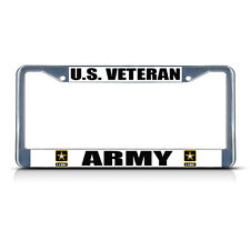 U.S. VETERAN ARMY MILITARY Chrome Metal Heavy License Plate Frame Tag Border