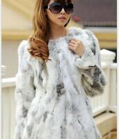 Womens Rabbit Fur Real Rabbit Fur Coat Nature Chic Overcoat Chic Winter Jackets