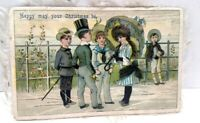 Victorian scrap Christmas Card Greeting Double Sided White Silk Fringe CC