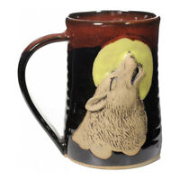 "MUGS - ""HOWLING WOLF"" HANDMADE POTTERY MUG - RED ON BLACK - 3D TANKARD"