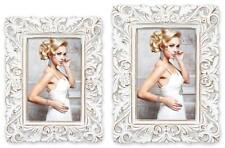Bilderrahmen Foto Rahmen Kunststoff weiß Ornamente Barock Shabby Style 2 Formate