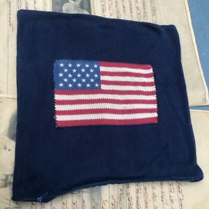Ralph Lauren Home Collection American Flag Decorative Pillow Case-Damaged