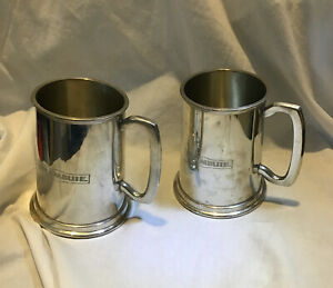 Collectable 2x Drambuie - VINTAGE PEWTER TANKARDS  - England Sheffield Pint