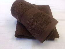 24 NEW BROWN SALON HAND TOWELS DOBBY BORDER RINGSPUN 100% COTTON 16X27 3LBS