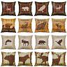 "18"" Animal Deer Bear Owl Pillow Case Cotton Linen Home Decorative Cushion Cover"