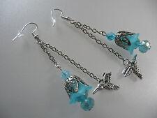 Vintage Art Deco Style Turquoise Lucite Flower Crystal Hummingbird Long Earrings