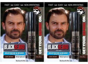 2 Mens Instant Hair Colour Mascara Beard Moustache Eyebrows Sideburns DARK BROWN