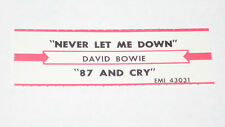 x1 David Bowie Jukebox Title Strip Never Let Me Down & 87 and Cry EMI #43031