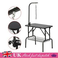 Foldable Pet Dog Grooming Table Adjustable Arm Non Slip Surface Portable New