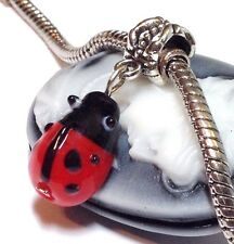 LADYBUG_Lampwork Glass Bead for Silver European Charm Bracelet Handcrafted_Q46
