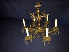Antique Brass or Bronze w/Crystal Pineapple Prisms 6-Light Chandelier