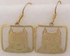 Amstaff Terrier Pit  Bull Jewelry Gold Dangle Earrings by Touchstone Dog Designs