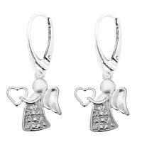 Turquoise Guardian Angel 925 Silver Leverback Earrings.Handmade In Gift Bag