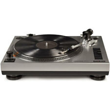 Crosley C100A-SI S-Shaped Tone Arm and Adjustable Weight Turntable - Silver