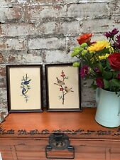 More details for pair of vintage wild bird framed cross stitch pictures wall art nature