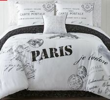 QUEEN SIZE PARIS EIFFEL TOWER WHITE BLACK COMPLETE BEDSET comforter sheets shams